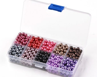 Round Glass Pearl Beads, Dyed, Mixed Color * 600 pieces * Bead Box Set Kit 024 * 6mm