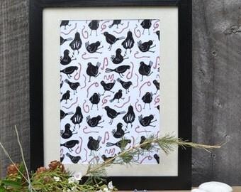 black bird pattern print