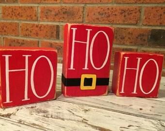 Hand Painted Wooden Ho Ho Ho Sign, Christmas Decor, Stocking Stuffers
