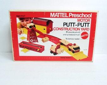 Mattel Preschool Putt Putt Motor Construction Yard Playset 18 PC Set 1973