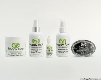 Facial Set - Sensitive Skin - All Natural  (contains face scrub, face soap, toner, serum, and moisturizer)