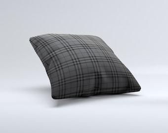 Black Luxury Plaid ink-Fuzed Decorative Throw Pillow