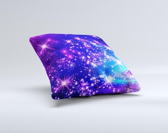 The Glowing Pink & Blue Starry Orbit ink-Fuzed Decorative Throw Pillow