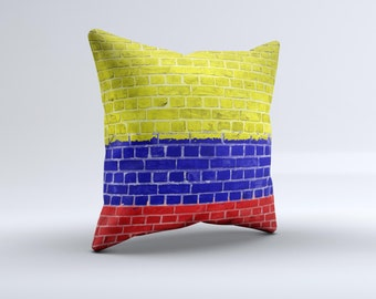 The Red, Blue and Yellow Vibrant Brick Wall ink-Fuzed Decorative Throw Pillow