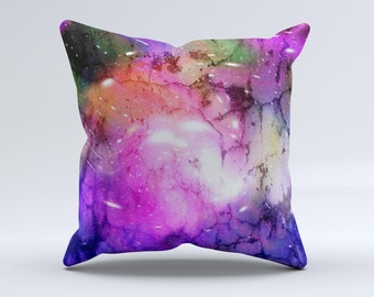 Warped Neon Color-Splosion  ink-Fuzed Decorative Throw Pillow