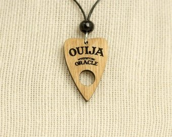 Ouija Planchette Wooden Charm Necklace - Ouija Carved Charm - Ouija Board Planchette Wood Charm - Spirit Board Charm - Mystifying Oracle