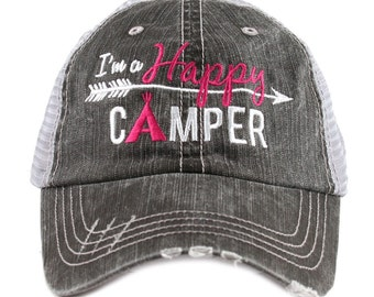 Happy Camper Trucker Hat ~ Happy Camper Hat ~ Camping Hat ~ Happy Camper ~ I'm a Happy Camper ~ Camping hat ~ Lake Hat ~ Women's Hat ~ Cute
