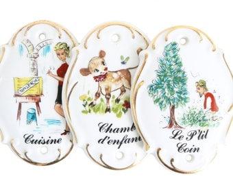 Vintage French Hand Painted Door Signs. Porcelain Limoges. Kitchen - Kids Room - Bathroom. Chambre D'Enfants. Cuisine. Le P'tit Coin