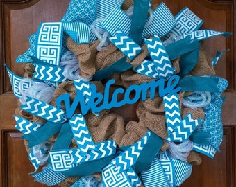 """Burlap and Blue """"Welcome"""" Wreath"""