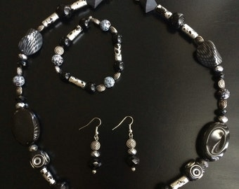 Black and Silver Edgy Fashion Jewelry Set