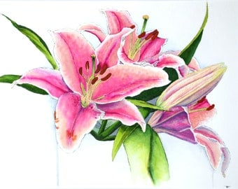 "Pink Lilies 8"" x 10"" Original Watercolor Illustration"