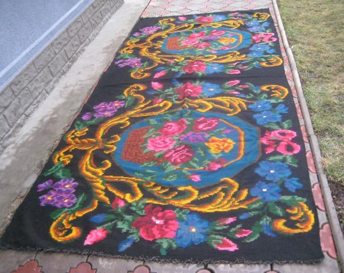 Bessarabian Kilim. Vintage Kilim, Handmade 45 years old, handmade.rose carpet, Ukrainian, Bessarabian carpet, KEL.