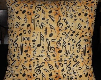 Musical Notes Pillow, 12 X 12 Decorative Pillow