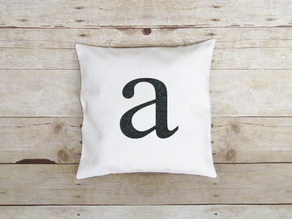 Letter Pillow -Personalized / Initial pillow / small letter - Choose Colors / lowercase - Monogram pillow / applique letter - 18 x 18