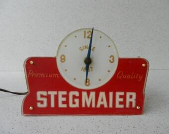Working Vintage Stegmaier Beer Clock, Cash Register Topper, Beer Sign, Hanging or Sitting, Breweriana, Wilkes-Barre PA
