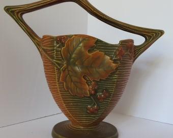 Roseville Pottery Bushberry 370-8 Vase- Russet