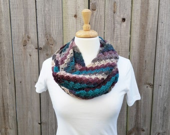 Crochet Infinity Scarf - Womens Scarf - Multicolor Scarf - Crochet Cowl - Neck Warmer - Valentine Gifts for Her