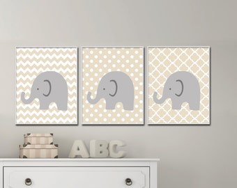 Elephant Nursery Art.  Gender Neutral Nursery Art. Baby Girl or Boy Nursery Art. Suits Beige Nursery Decor -  S-151