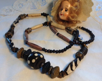 Vintage Clay and Wood Beaded Necklace African Look