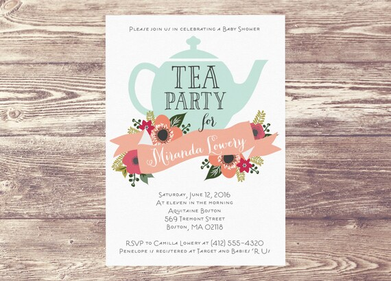 baby shower tea party invitation custom personalized sprinkle tea