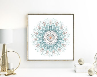 Gypsy bohemian decor wall art print home decor mandala poster teal wall art orange and turquoise decor blue bathroom decor geometric artwork