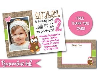 Owl Birthday Invitation - Printable Kids Birthday Party Invite - Owl Theme Birthday - Girls Birthday Ideas - Second Birthday Invitation