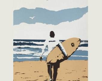 Surfer Dude - serigraph, signed, limited edition (screen print) hand-pulled original
