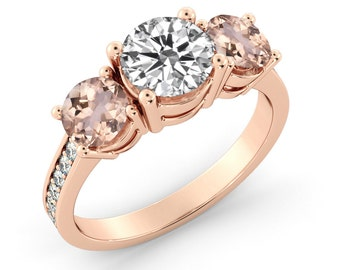 14k Rose Gold Diamond and Morganites Ring for Katelyn - Second Payment
