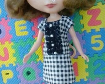 Blythe Doll Outfit Black White Checks Lace Dress