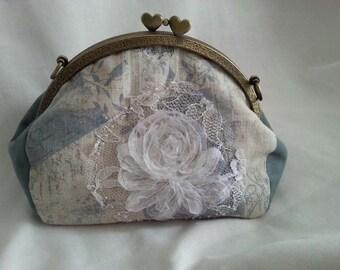 Bag  made with purse frame, cotton-linen fabric, purse frame width :  20 cm bronze