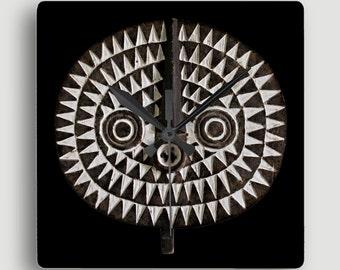 African Art — Square Wall Clock Featuring Portrait of Bobo Bwa Sun Mask