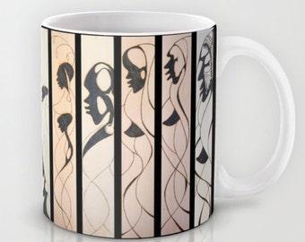 Unusual Solar Etching - Solar Art - Solar Pyrography ~ Multi-Panel Design #3 / Classy Ceramic Beverage Mug for Coffee, Tea, Hot Toddy, etc