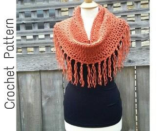 Easy Crochet PATTERN | Fringe Cowl Pattern | Loose Cowl Pattern| Crochet Cowl Pattern | PDF Digital Download |