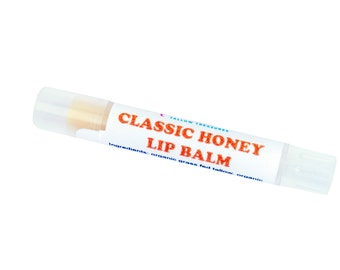 ORGANIC Grassfed Tallow Lip Balm -- Unflavored Lip Balm -- Honey Lip Balm -- Organic Grass fed Tallow Balm -- Slim Line Tube