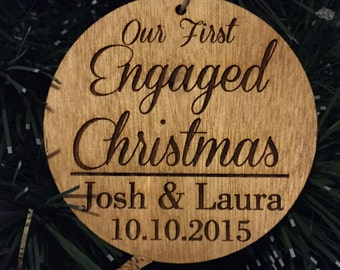 Our First Engaged Christmas Wood Ornament - Personalized with Couple's Names and Proposal Date, Stained and Laser Engraved, Custom Design