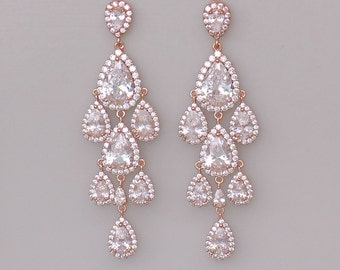 Rose Gold Chandelier Earrings, Rose Gold Bridal Earrings, Crystal Teardrop Earrings, Wedding Earrings, TAMARA