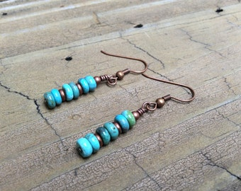 Sundance Style Turquoise and Copper Earrings Rustic Boho Turquoise Southwest Style, Southwest Look