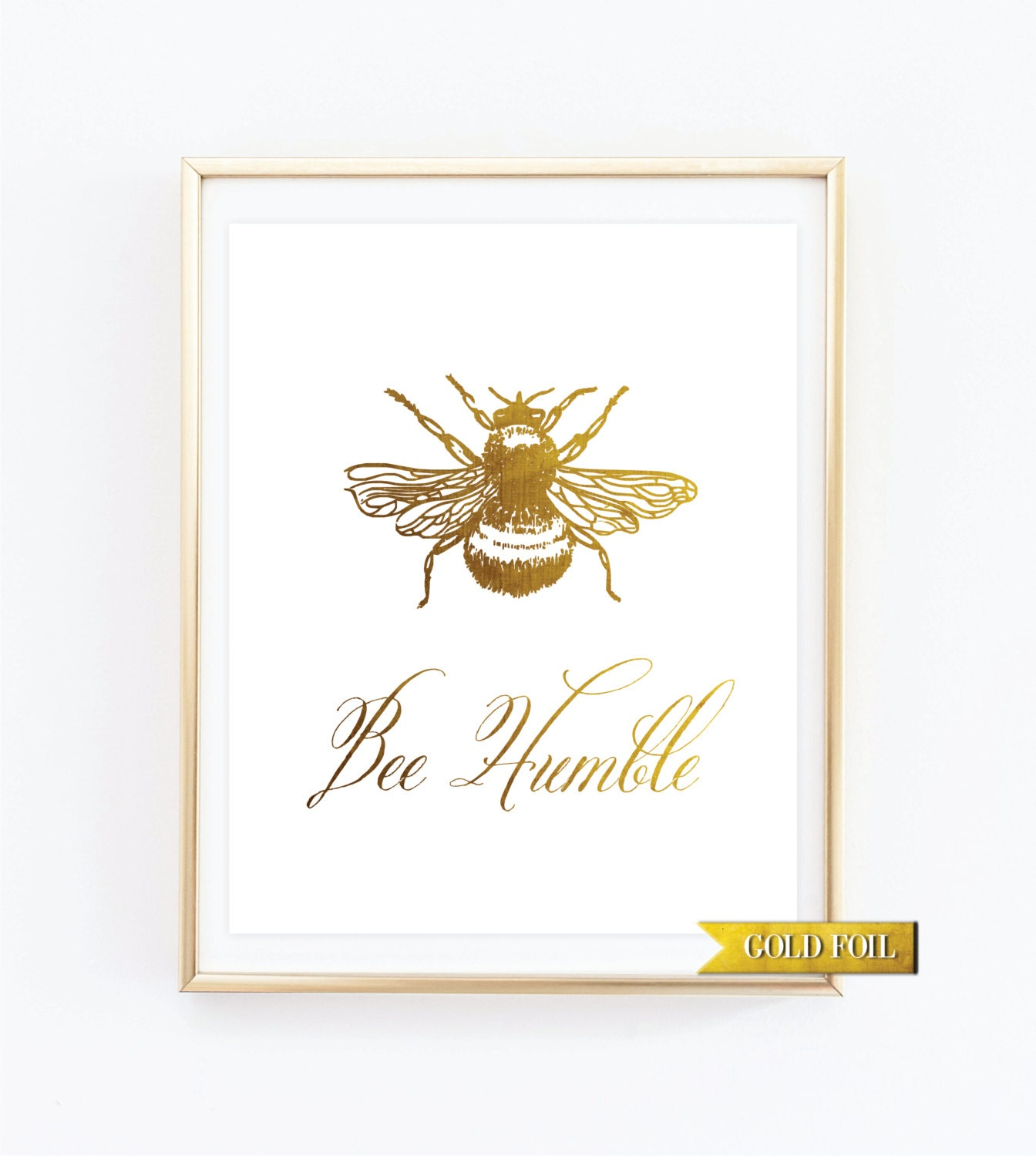 Bee humble print gold nursery wall d cor gold kids decor for Gold wall art