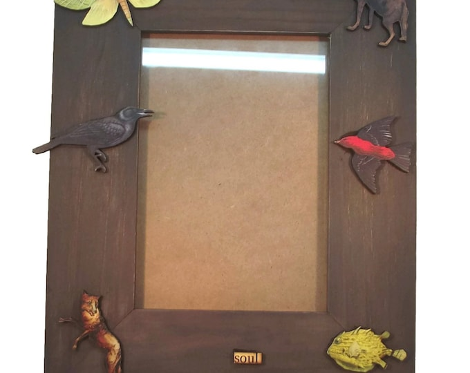 5x7 Handmade Free Soul Brown Animal Photo Picture Frame, OOAK, One of a Kind