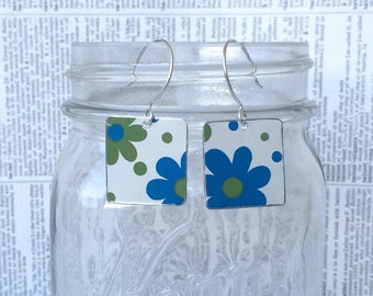 Upcycled flower power earrings made from a vintage flower tin