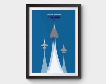 "TOP GUN - movie poster 12x16"" art, print, film, top gun print, iceman, goose, minimalist movie print, tom cruise, airplane print,"