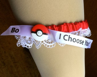 Personalized, Pokemon, wedding garter, I Choose You // red Poke Ball // blue great ball // white master ball // light blue ultra ball