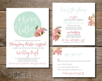 Printable Fun Wedding Invitation, RSVP & OPTIONAL Reception Card With Different Wording- Print Yourself- Digital File