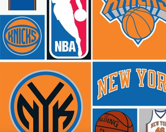 NBA New York Knicks Knickerbockers All Over Print Fabric Camelot Cottons Basketball NY
