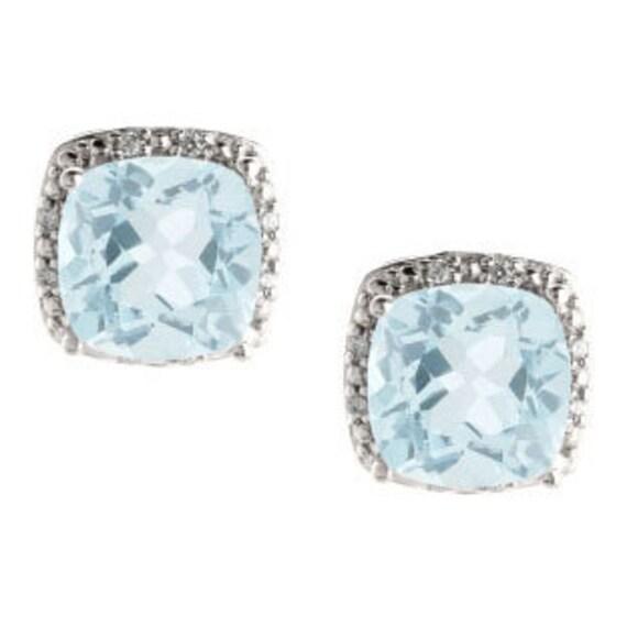 Aquamarine Gemstone Earrings: Cushion Cut Aquamarine March Gemstone White Yellow Rose Gold