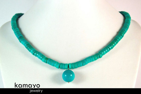 TURQUOISE NECKLACE - Womens' Beaded Turquoise Choker - Round Pendant and Disc Stone Beads