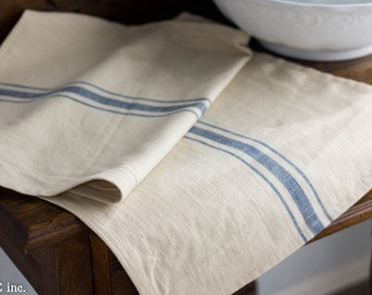 Farmhouse Table Runner- Blue and Cream Approx  34 x 16 inches
