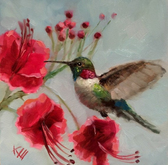 Hummingbird bird birds painting paintings decor