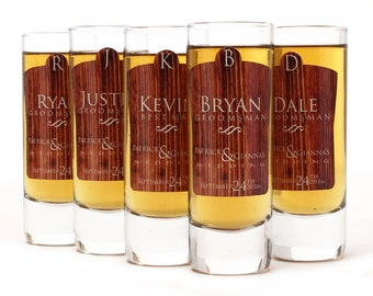 6, Custom Shot Glasses, Groomsmen Shot Glasses, Personalized Shot Glass, Rustic Design