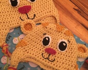Daniel Tiger Crochet Hat Costume Winter Ear Flap